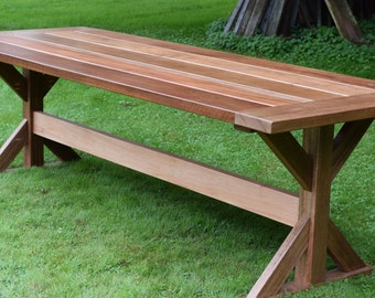 Mahogany Outdoor Dining Table,  Trestle Table, Patio Table