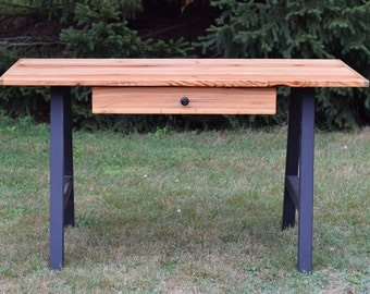 Reclaimed Wood Writing Desk with Steel Legs