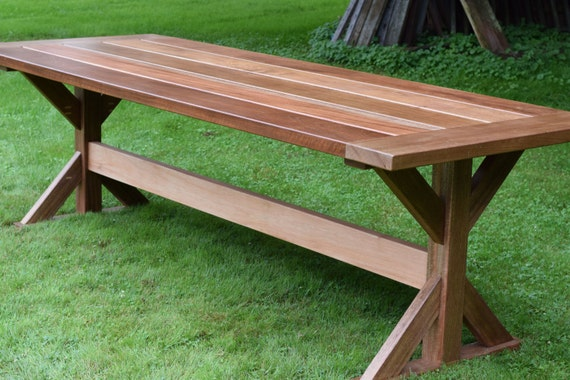 The Lucy Mahogany Outdoor Dining Table Trestle