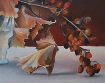 Original Small Oil Painting of Autumn Leaves, still life