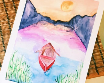 Boat on Lake Watercolor Art Print   Mountains and Lake  Wanderlust   Wilderness   Adventure   Home Decor   Wall Art   8x10   11x14   13x19