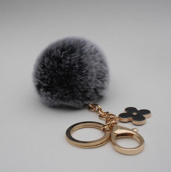 pom perfect black frosted rex rabbit fur pom pom ball with. Black Bedroom Furniture Sets. Home Design Ideas