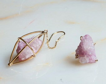 Asymetrical Eaarrings, Quartz Earrings