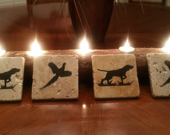 English Pointer and Pheasant Travertine Coasters with Cork Backing