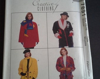 McCall's Creative Clothing 7891, DIY jacket and scarf pattern, uncut jacket & scarf pattern, Size 12-14 jacket pattern, vintage pattern