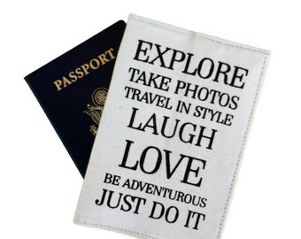 Explore, passport cover, travel in style, passport wallet, be adventurous, travel gift, just do it, inspirationl quotes, luggage & travel