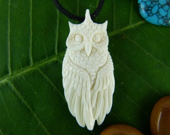 White Horned Owl Necklace - Carved Owl Necklace - Horned Owl necklace - Meditation necklace - Totem necklace - Spirit animal necklace - X031