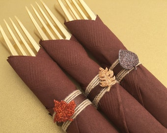 Thanksgiving Napkin Rings with Glitter Leaf Design; Thanksgiving Tableware, Thanksgiving Decor