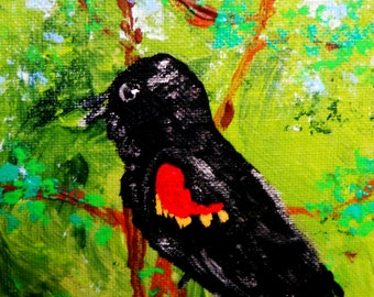 "REGINALD Acrylic on 5x7"" Canvas Panel Red Winged Black Bird Outsider Folk Art birds African American Artist Stacey Torres wildlife nature"