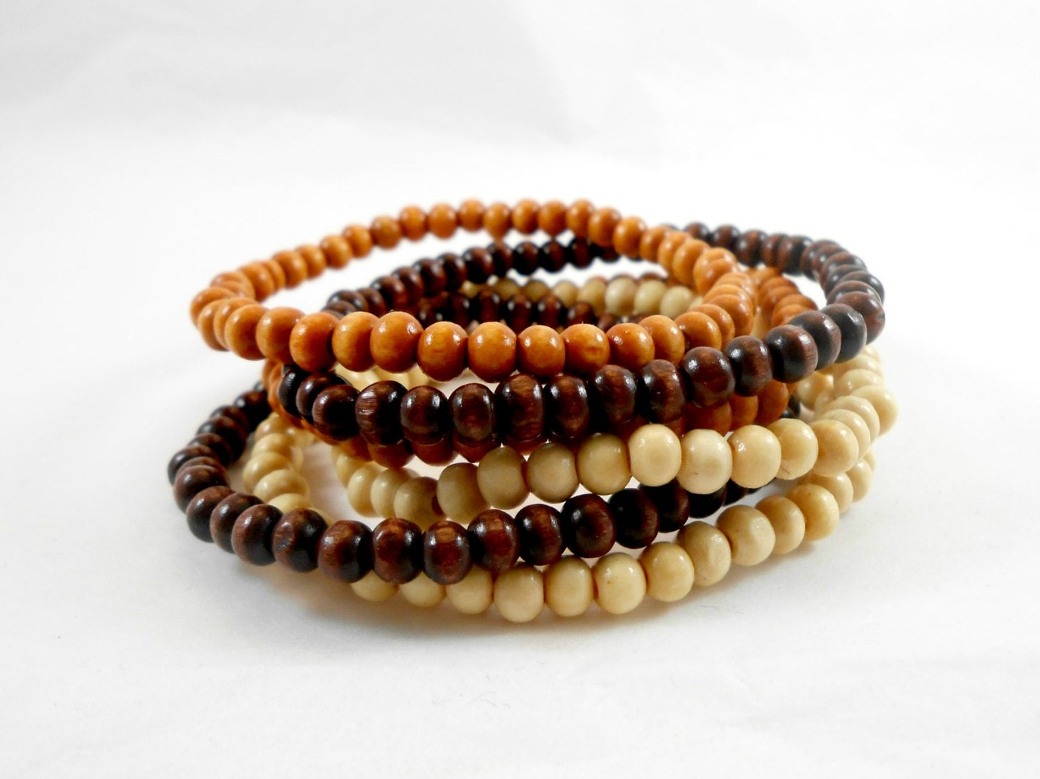 mix match wood bead bracelets 4mm your choice in