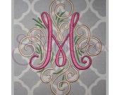 Adorn Monogram Set – 3″, 4″ - Digital Machine Embroidery Font Alphabet Letters - Fancy Calligraphy Script Swirly Accent Frame