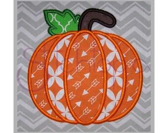 Pumpkin Applique Design #1 - 7 Sizes 10 Formats PES DST SHV - Fall Pumpkin Machine Embroidery Applique Design - Instant Download Files