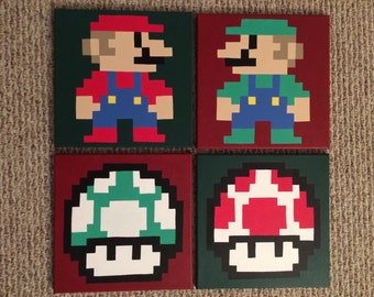 Sale READY TO SHIP Super Mario Bros Mario Luigi Power Up 1 Up Hand Painted Canvas Set of 4