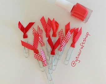 10 handmade decorated paper clips
