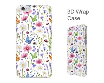 Floral phone case iPhone 6, 6S, iPhone 6 Plus, 6S Plus, SE, 5C, 5, 5S, 4, 4S, Samsung Galaxy S7, S6, S5, S4 nature 3D wrap phone cover. W206