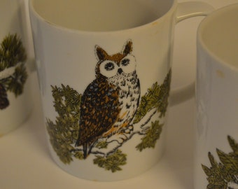 Set of 4 Coffee Cups With Owls