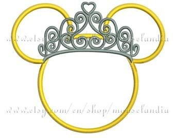 Cute miss mouse princess Applique Design   Instant Download 2sizes