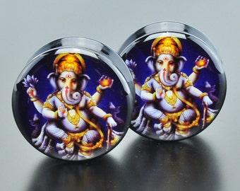 Ganesh Acrylic screw picture saddle ear plug gauge jewelry.  AP-007-69