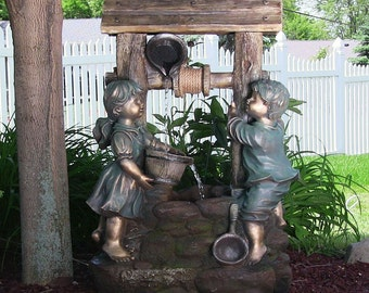 Outdoor western well falls water fountain for garden decor patio electric water feature