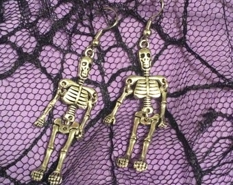 Skeleton Earrings, Silver Skeleton Earrings, Dangle Skeleton Earrings, Silver Dangle Skeleton Earrings, Halloween Earrings