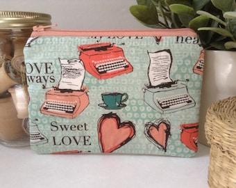 Small Zipper Bag, Zipper Pouch, Makeup Bag, Cosmetics Case, Clutch Purse, Knitting Notions Bag, Love, Hearts, Tea & Typewriters, Peach, Mint