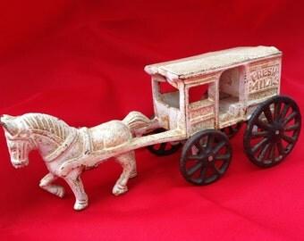 Vintage Cast Iron Fresh Milk Wagon