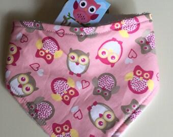 Pink bandana bib owls