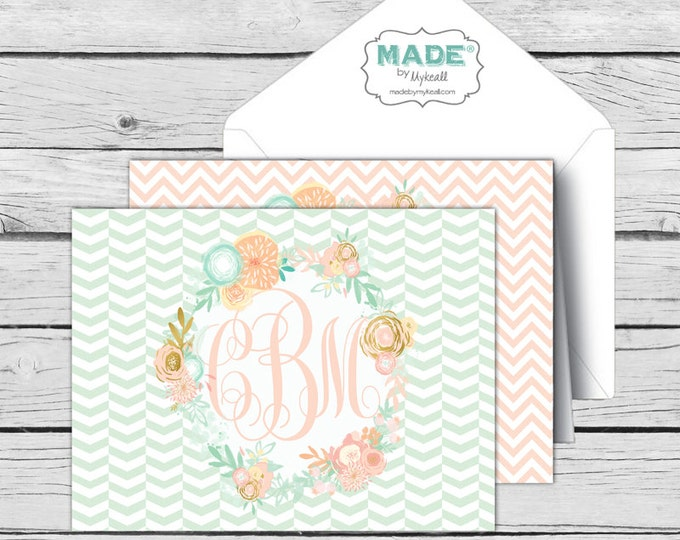 Script MONOGRAM Mint & Peach Floral NOTE CARD Assorted Set 2, Made-to-Match Cards, Birthday, Printed Thank You Cards