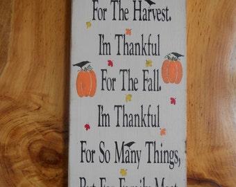 Fall Season Thankful For Wood Sign