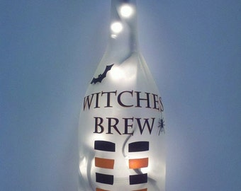 Halloween Witch Brew Recycled Wine Bottle Lamp light