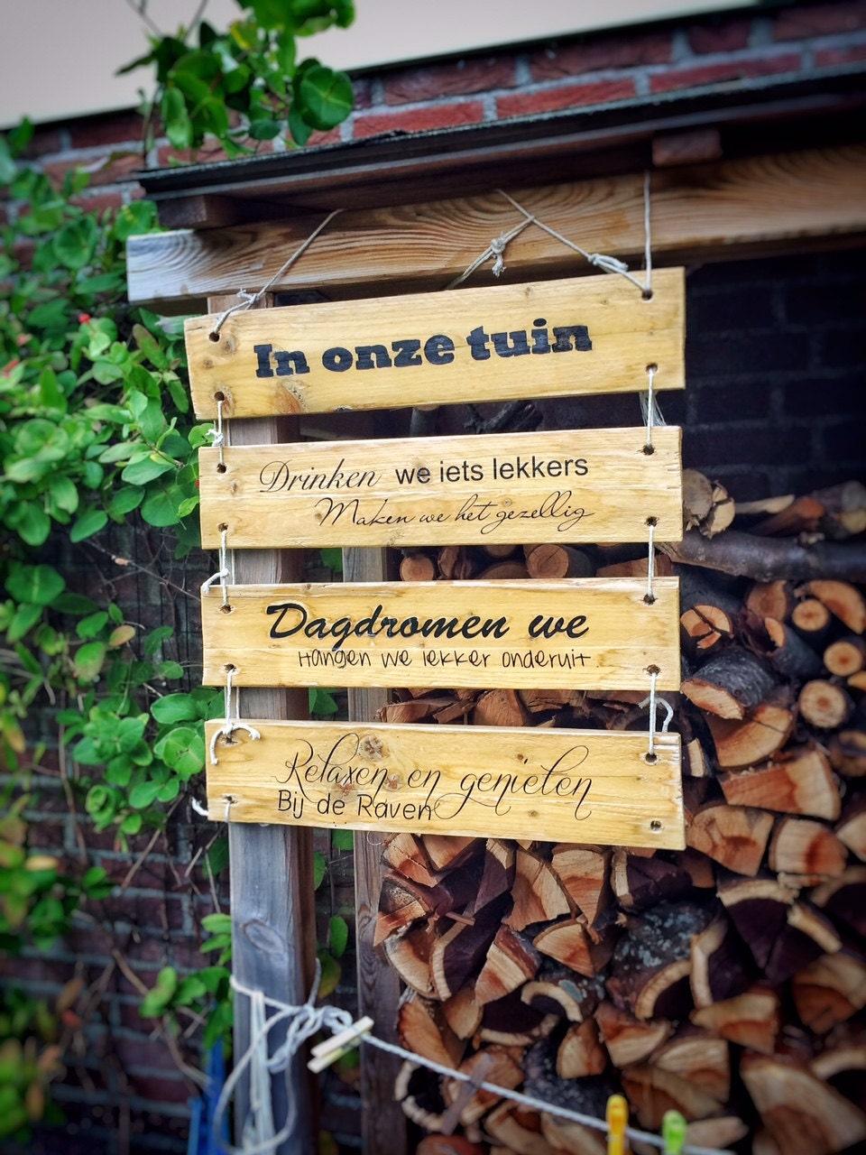 Gepersonaliseerd houten tekstbord paneel tuin decoratie - Houten tuin decoratie ...
