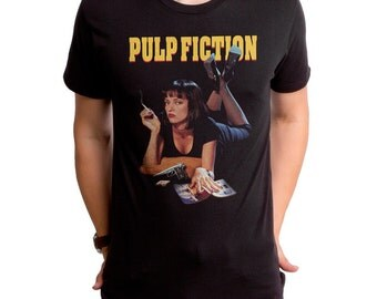 Pulp Fiction Mia (PLP0011-101BLK) Men's T-Shirt. 90s movies, quentin tarantino, mobsters, movie, films, john travolta, vincent, jules.