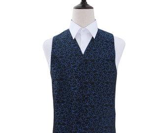 Men's Swirl Black & Blue Wedding Waistcoat
