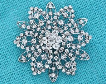 Glam Wedding Brooch, Vintage Wedding Broaches, Bling Brooches Bouquet, Rhinestone Silver Broach, Bridal Sash Brooch, Wedding Brooches