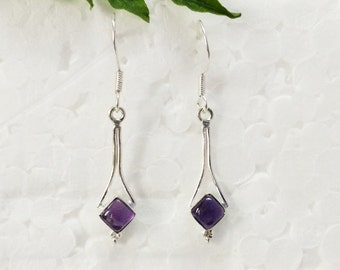 Beautiful NATURAL PURPLE AMETHYST Gemstone Earrings, Birthstone Earrings, 925 Sterling Silver Earrings, Handmade Earrings, Dangle Earrings