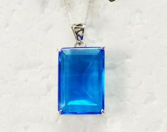 Beautiful LONDON BLUE TOPAZ Gemstone Pendant, Birthstone Pendant, 925 Sterling Silver Pendant, Fashion Handmade Pendant, Free Chain