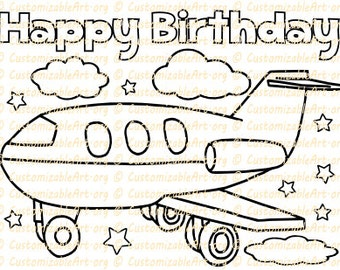 Airplane Party Favor Printable Birthday Coloring Page Sheet Plane Supplies Theme Idea