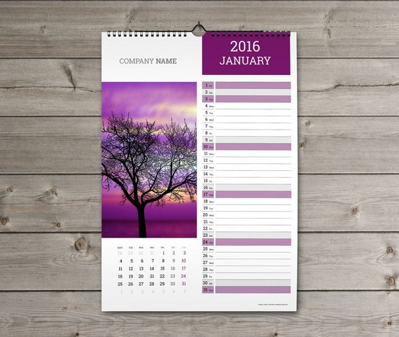 Wall Calendar Design Templates : Items similar to wall calendar template kw w