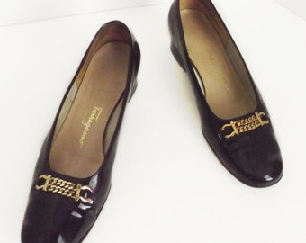 Late 60s/early 70s Salvatore Ferragamo patent leather shoes, size 5.5 B