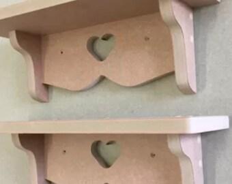 2 x love heart shelf shelves 40cms ready for painting fully assembled new shabby chic nursery girls boys bedroom kitchen bathroom
