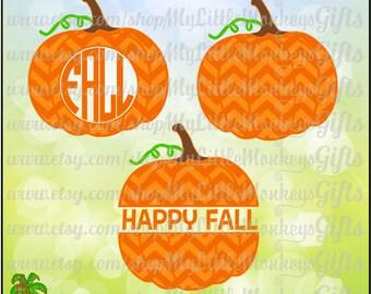 Chevron Pumpkin Monogram Base and Split Pumpkin Design Digital Clipart Instant Download SVG DXF EPS Jpeg Png