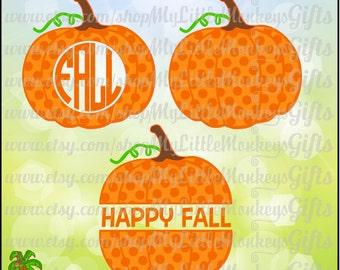 Polka Dot Pumpkin Monogram Base and Split Pumpkin Design Digital Clipart Instant Download SVG DXF EPS Jpeg Png