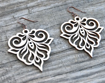 Filigree Laser Cut Wood Earrings