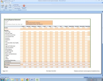 Freelance Photographer Income and Expenses Excel Spreadsheet Template