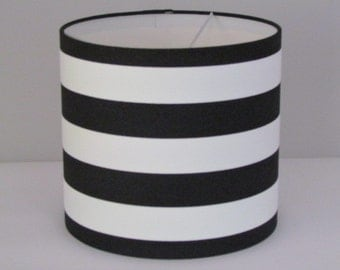 Stripe lampshade etsy handmade monochrome black white wide stripe lampshade lightshade 20cm 25cm 30cm mozeypictures Image collections