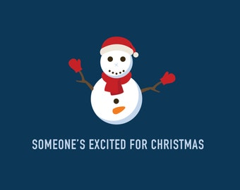 Funny Holiday Card | Excited Snowman Card | Christmas Card