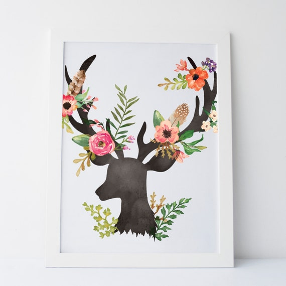 Dorm Room Wall Decor Etsy : Printable art floral deer wall print gallery
