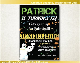 Paintball birthday invitation, paintball party, paintball invitation, birthday invitation, paintball party birthday
