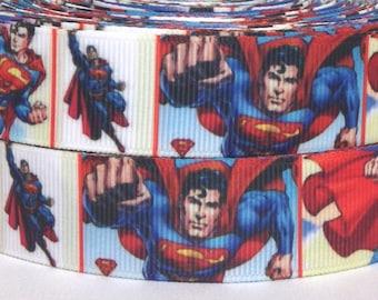 """Superman 7/8"""" Grosgrain Ribbon - Super Hero Ribbon 3 yards - 3 yards Superman Grosgrain Ribbon - Super Hero Ribbon -"""