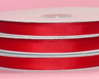 """5 yards 7/8 inch Red Grosgrain Ribbon - 7/8"""" Red Ribbon 5 yards - 7/8"""" Red Grosgrain Ribbon - Red Ribbon 5 yards."""
